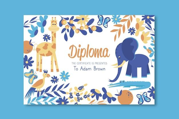 Modelo de diploma para crianças com elefante e girafa