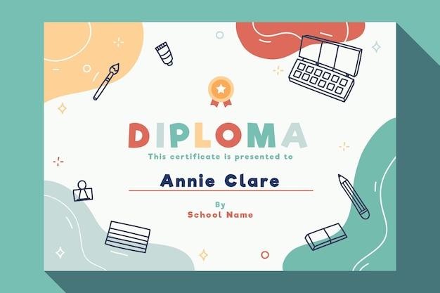 Modelo de diploma para crianças com elementos