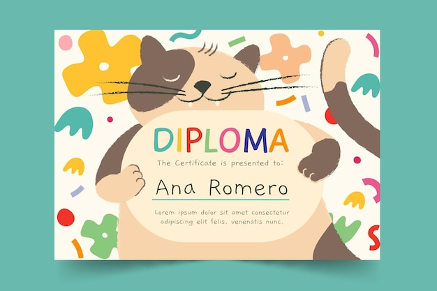 Modelo de diploma para crianças com gato