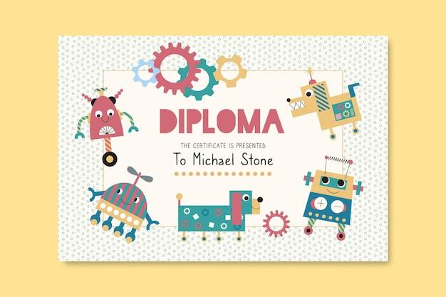 Modelo de diploma para crianças com robôs