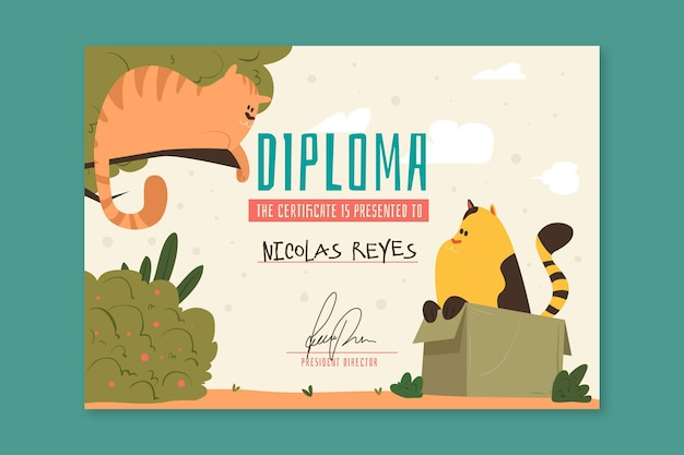 Modelo de diploma para crianças