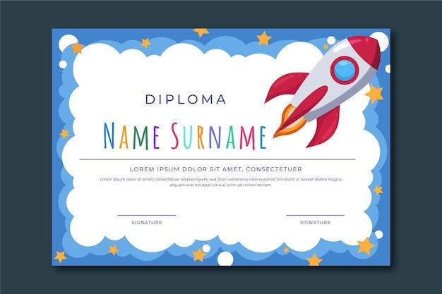 Modelo de diploma para graduação de criança