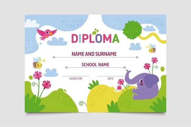 Modelo de diploma para o conceito de crianças