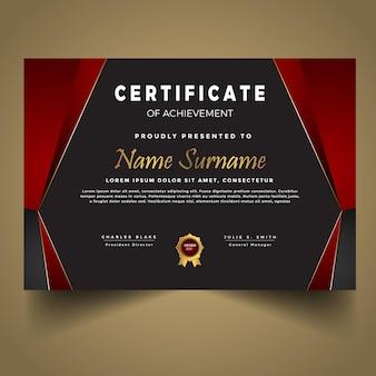 Modelo de diploma vermelho moderno premium