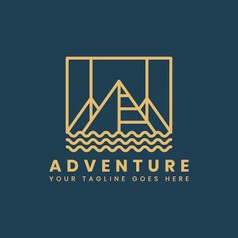 Modelo de distintivo de logotipo de aventura ao ar livre