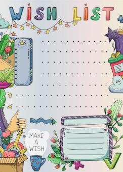 Modelo de doodle com lista de desejos criativa.