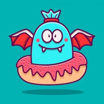 Modelo de doodle de monstro kawaii