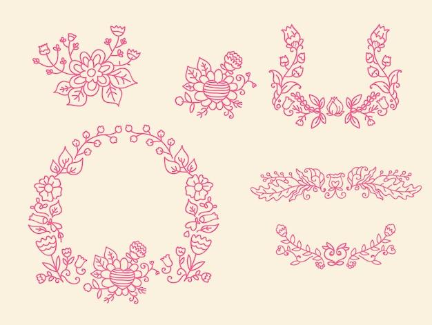 Modelo de doodle rosa de ornamento de casamento