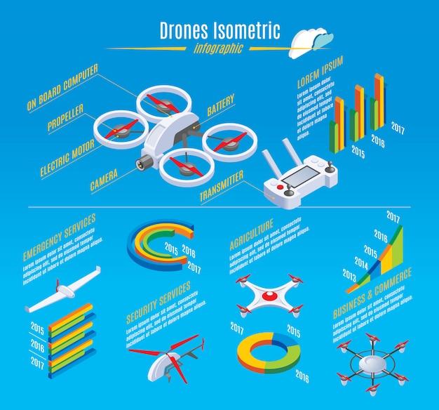 Modelo de drones isométrica infográfico com construção de quadrocopter