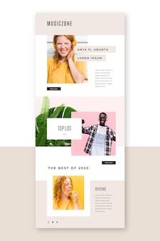Modelo de e-mail de blog com fotos