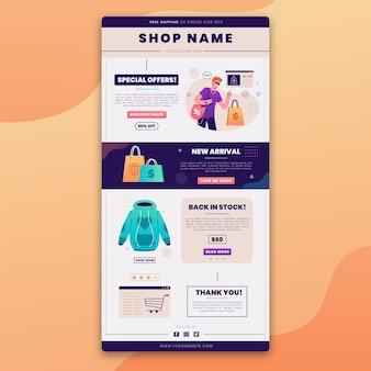 Modelo de e-mail de comércio eletrônico criativo com ilustrações