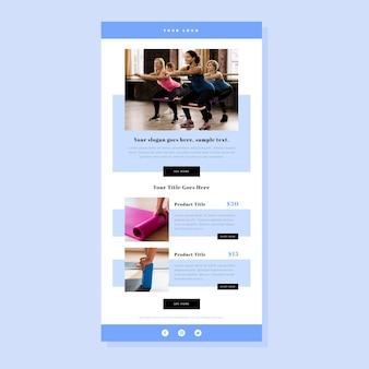 Modelo de e-mail de fitness minimalista com fotos