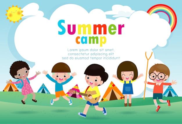 Modelo de educação de acampamento de verão crianças para brochura de publicidade, crianças fazendo atividades no camping, modelo de panfleto de cartaz, seu texto, ilustração vetorial