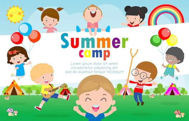 Modelo de educação de acampamento de verão para crianças