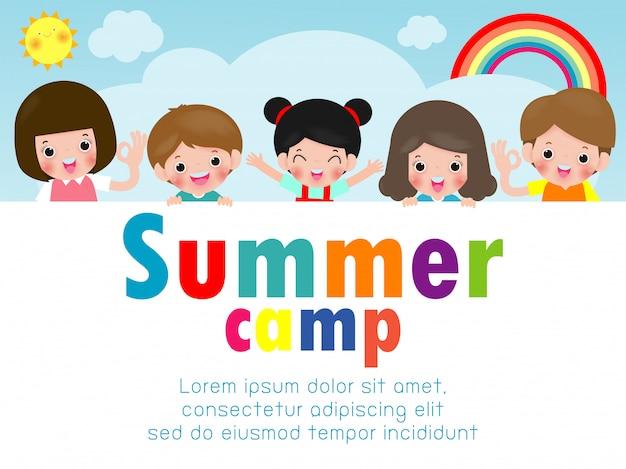 Modelo de educação de acampamento de verão vkids para brochura de publicidade, crianças fazendo atividades no acampamento, modelo de panfleto de cartaz, seu texto, ilustração