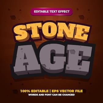 Modelo de efeito de estilo de texto editável em desenho animado da idade da pedra