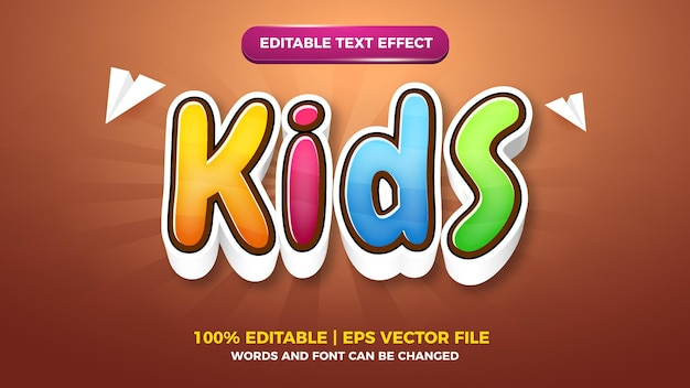 Modelo de efeito de estilo de texto editável em quadrinhos de desenhos animados infantis
