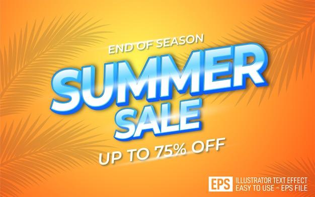 Modelo de efeito de estilo editável de texto em promoção de verão