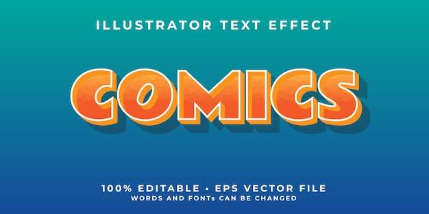 Modelo de efeito de fonte editável em quadrinhos