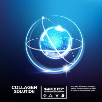 Modelo de efeito de luz de bola de colágeno ou vitamina soro para produtos para a pele