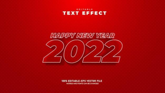 Modelo de efeito de texto 3d editável de feliz ano novo