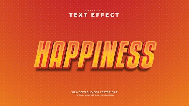 Modelo de efeito de texto 3d felicidade vetor premium