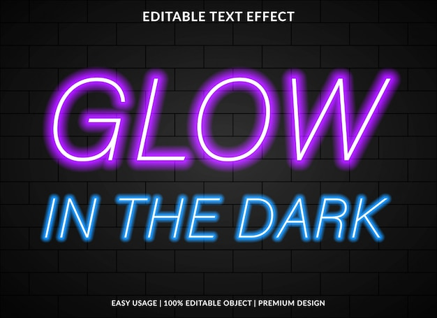 Modelo de efeito de texto brilho com estilo de luz neon