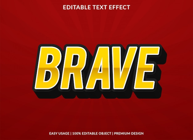 Modelo de efeito de texto corajoso com estilo negrito 3d