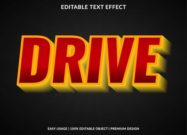 Modelo de efeito de texto de carro com estilo 3d em negrito