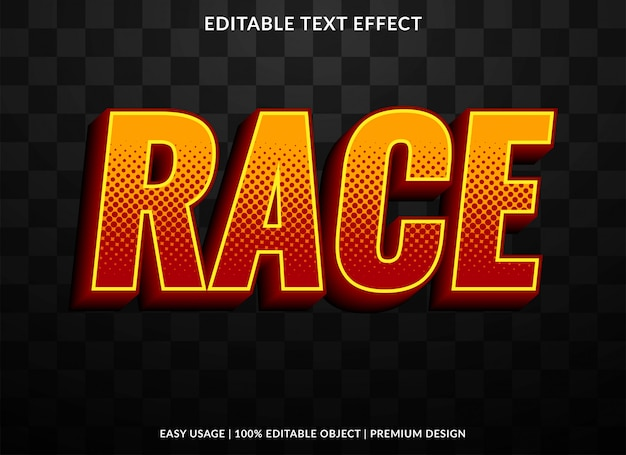 Modelo de efeito de texto de corrida com estilo ousado e retrô