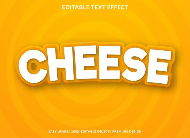 Modelo de efeito de texto de desenho animado de queijo