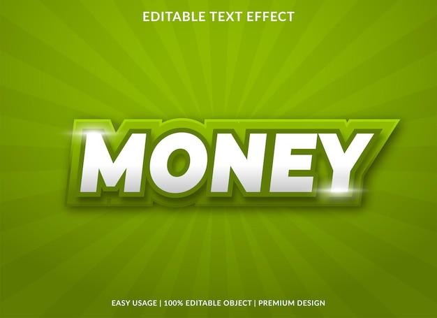 Modelo de efeito de texto de dinheiro com uso de estilo negrito para marca comercial e logotipo