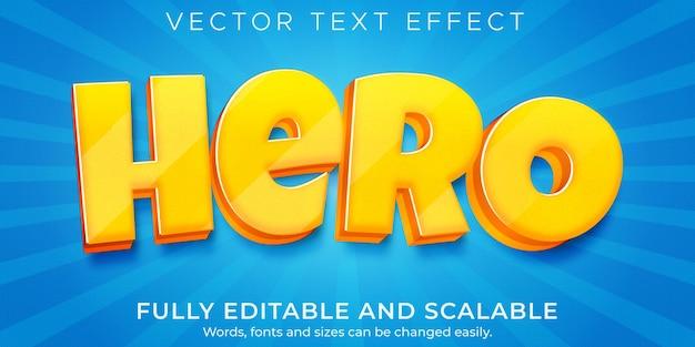 Modelo de efeito de texto de herói de desenho animado