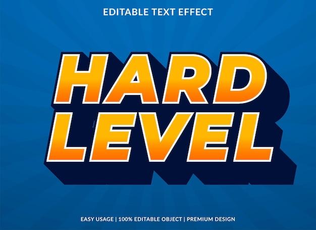 Modelo de efeito de texto de nível difícil uso de estilo premium para logotipo e marca