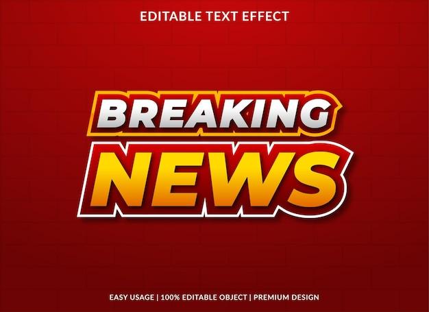 Modelo de efeito de texto de notícias de última hora com estilo negrito para tipografia de marca