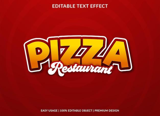 Modelo de efeito de texto de pizza estilo premium