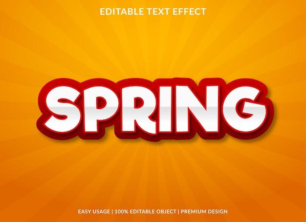 Modelo de efeito de texto de primavera com uso de estilo negrito para marca comercial e logotipo
