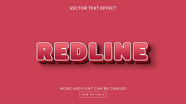 Modelo de efeito de texto editável 3d de linha vermelha
