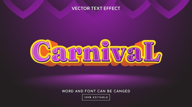 Modelo de efeito de texto editável carnival 3d