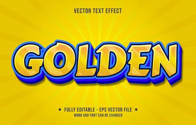 Modelo de efeito de texto editável cor gradiente azul dourado estilo moderno