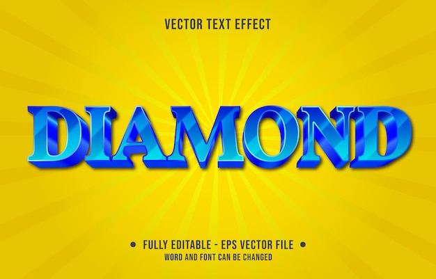 Modelo de efeito de texto editável, cor gradiente de diamante azul estilo moderno