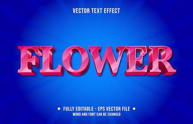 Modelo de efeito de texto editável, cor gradiente de flor rosa estilo moderno