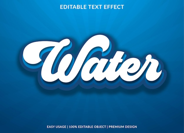 Modelo de efeito de texto editável de água