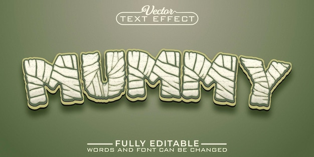Modelo de efeito de texto editável de desenho animado de múmia