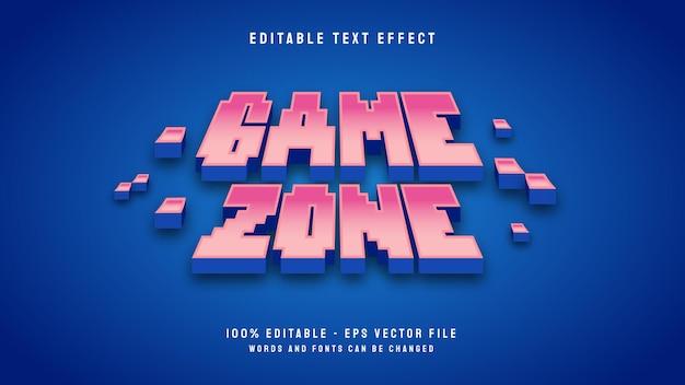 Modelo de efeito de texto editável de desenho animado em 3d da zona de jogo do pixel