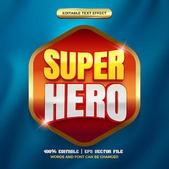 Modelo de efeito de texto editável de desenho animado em quadrinhos 3d brilhante de super-herói