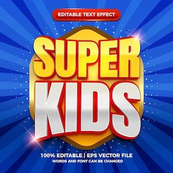 Modelo de efeito de texto editável de desenho animado em quadrinhos 3d supercrianças