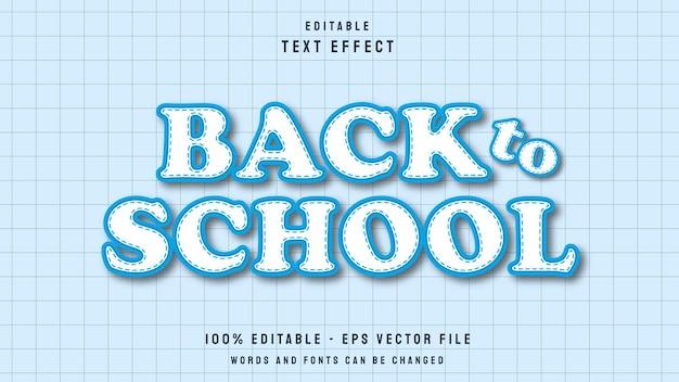 Modelo de efeito de texto editável de estilo 3d de volta às aulas