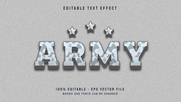 Modelo de efeito de texto editável de estilo clasicc army 3d