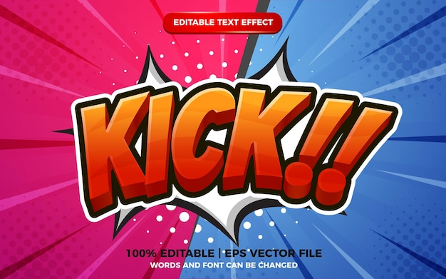 Modelo de efeito de texto editável de estilo desenho animado em 3d no fundo de meio-tom